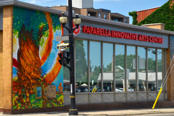 Exterior view of the mural on the Salvation Army Paparella Innovative Arts Centre.