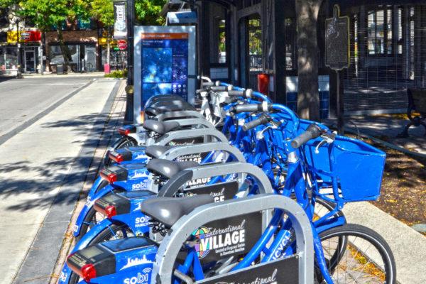 Sobi bikes parked at Ferguson Station.