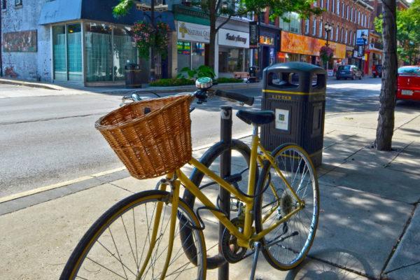 Vintage bike parked along King Street East.