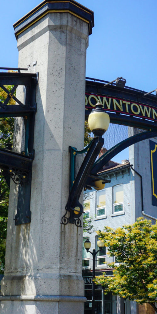 View of the Down Town Hamilton archway, entering the International Village
