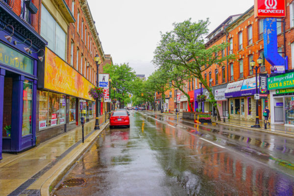 View down King Street on a rainy day.