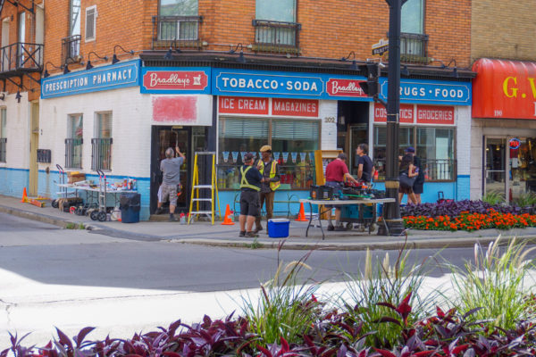 View of a storefront transformed for the filming of a 1950's themed tv show.
