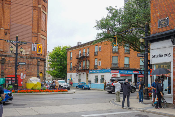 View of King Street East during the filming of a 1950's themed tv show.