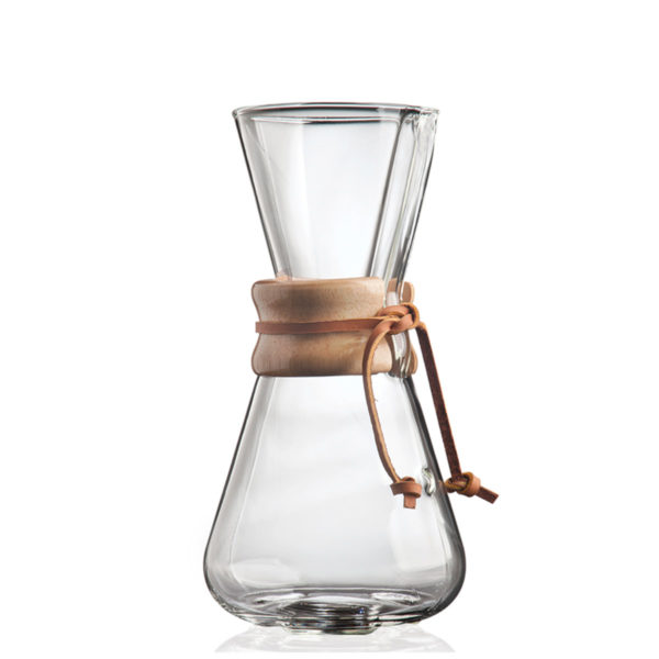 Side View of Chemex 3 cup Pour Over Coffee Maker. Classic and beautiful design made of hand-blown glass with wood and leather trim.