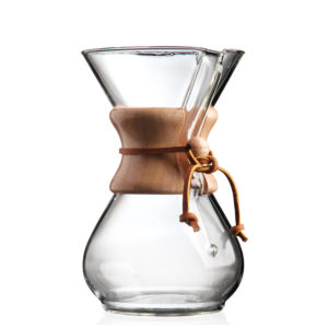 Chemex 6 cup Pour Over Coffee Maker. Classic and beautiful design made of hand-blown glass with wood and leather trim.