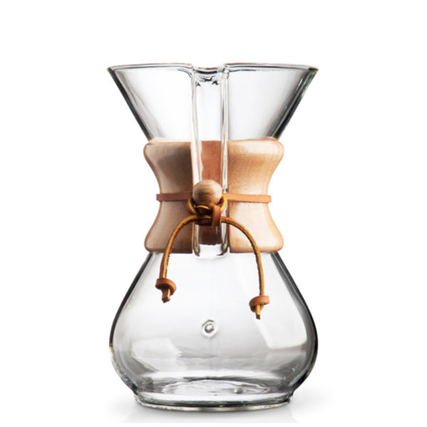 Side View of Chemex 6 cup Pour Over Coffee Maker. Classic and beautiful design made of hand-blown glass with wood and leather trim.