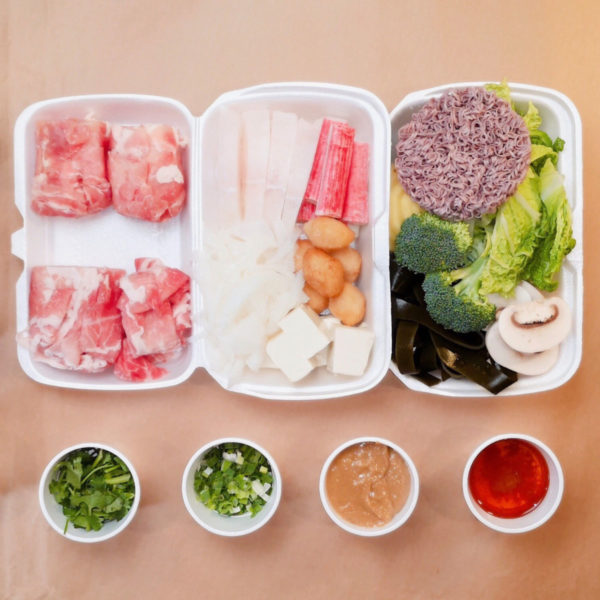 2 Take out containers of a Hot Pot Kit and 4 tiny circular containers with different ingredients. Have Hot Pot Experience at Home!