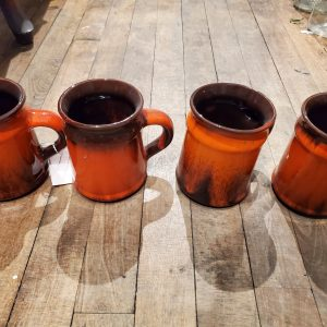 Vintage red and brown drip glaze coffee/tea mugs