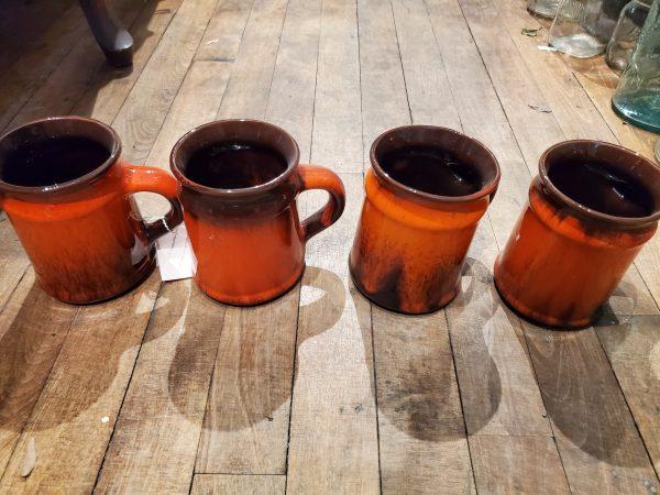 Vintage red and brown drip glaze coffee/tea mugs