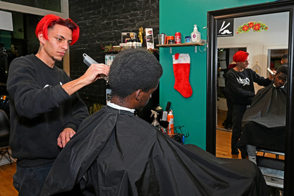 2019 Victorian Night. Person receiving a haircut inside Groom For Men.