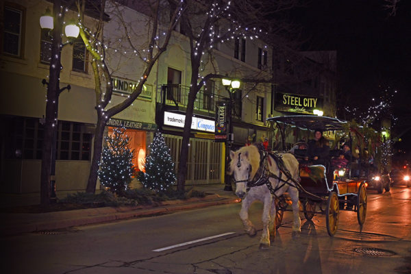 2019 Victorian Night. Horse Drawn carriage driving on King Street.