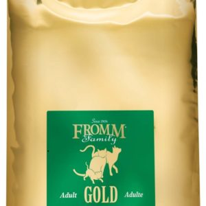 Gold bag of Fromm Cat Gold Adult cat food with green labels