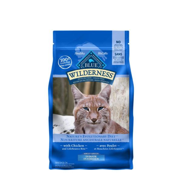 Blue coloured bag of blue wilderness chicken flavour indoor cat kibble