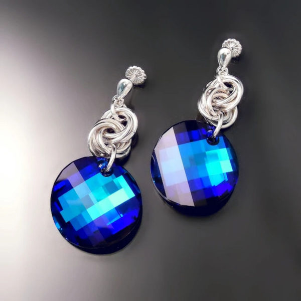 Handmade sterling silver earrings with electric blue Swarovski crystals