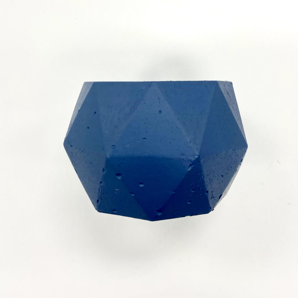 Image of a Dark Blue Geometric Candle Holder
