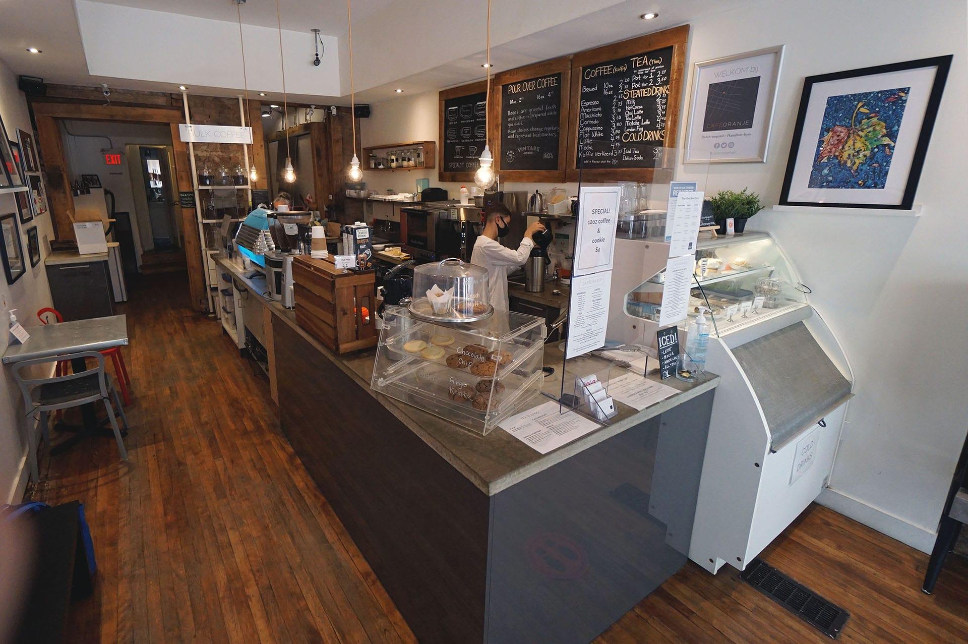 View inside Cafe Oranje