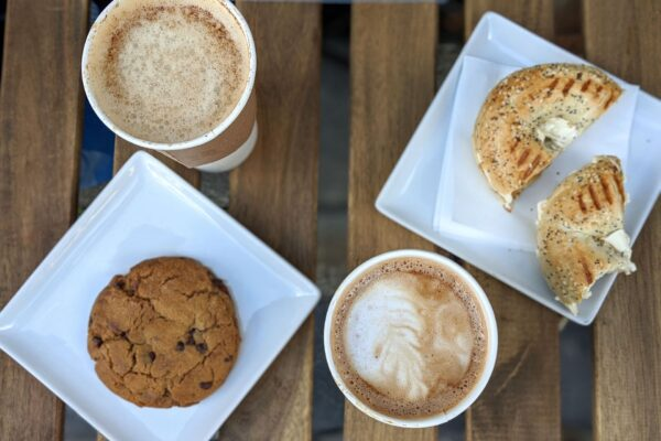 Image of coffee, cookie, and bagel from Cafe Orange