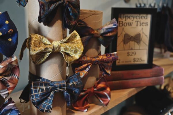 Handmade bowties on display in Thrifty Designer