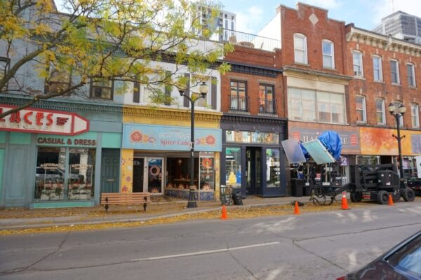 Image of storefronts on King Street East changed for filming