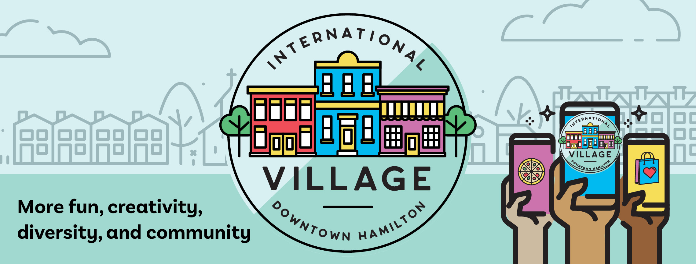 Image of the new logo for the International Village BIA