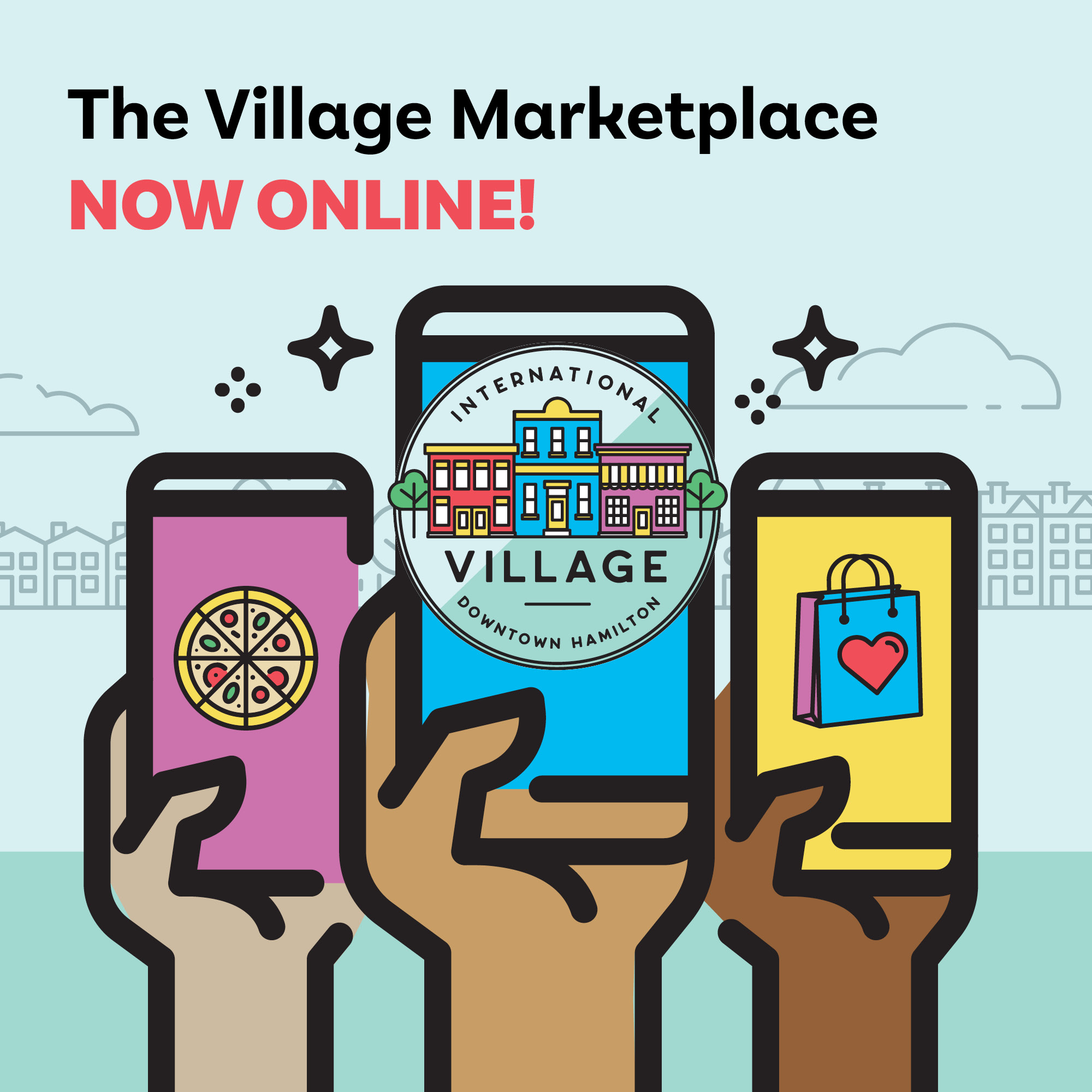 graphic of person holding a phone with the International Village BIA logo