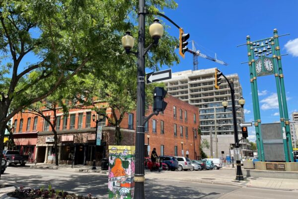 Streetscape of King St. East with new development in background