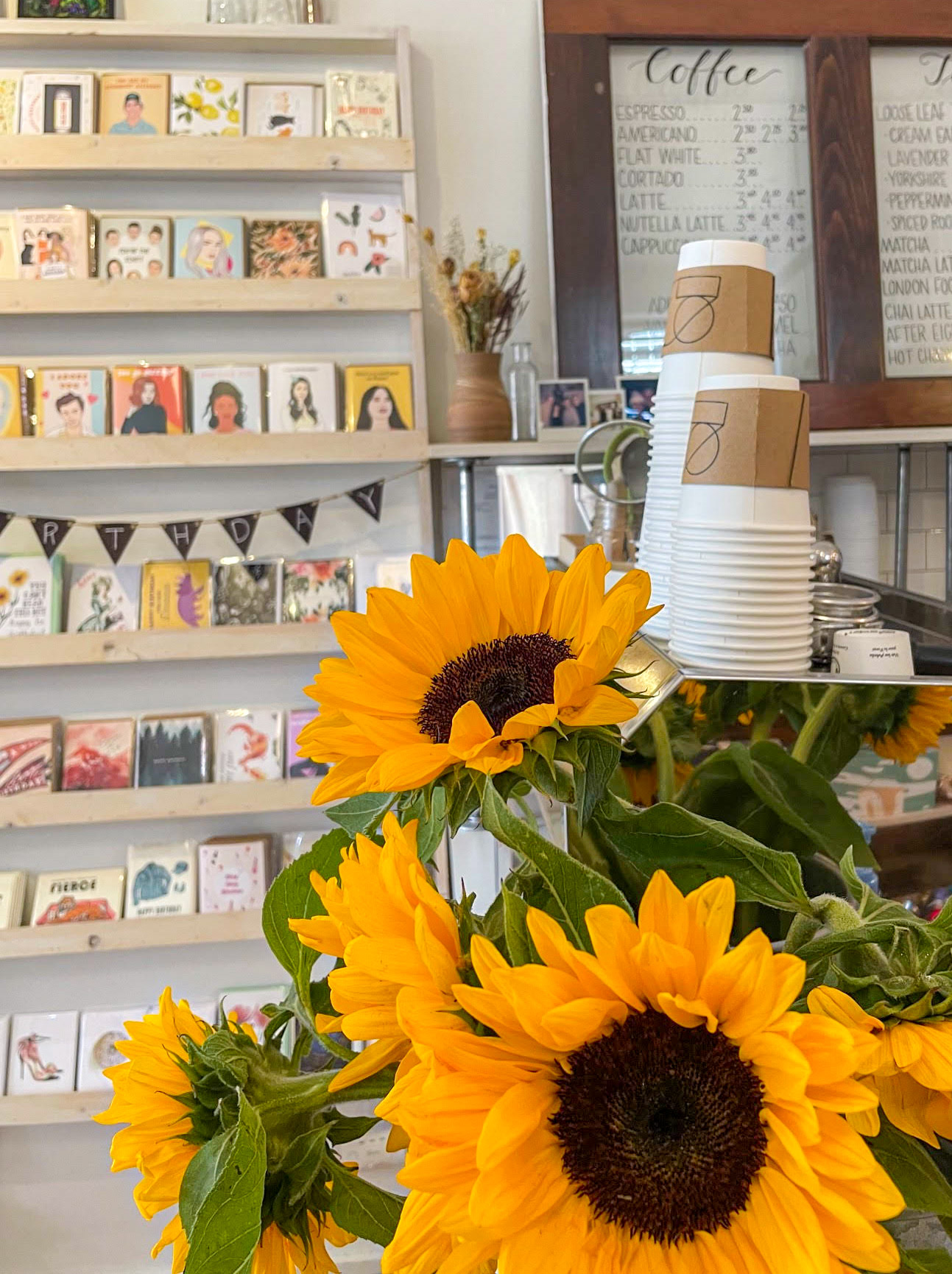 Sunflowers and greeting cards at Studio 205