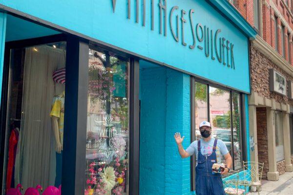 Updated bright blue storefront at VintageSoulGeek