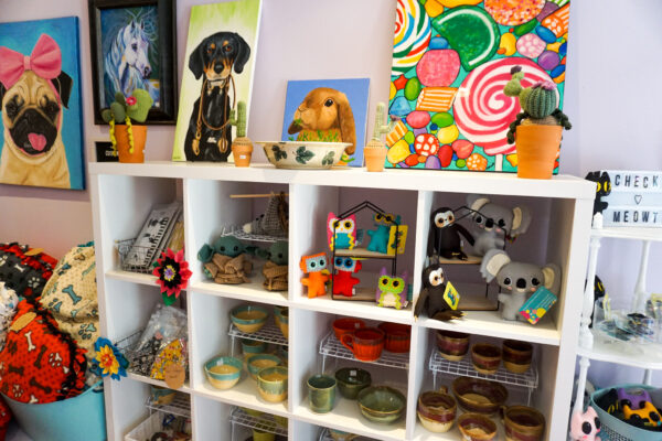 Image of products and artwork for sale at Cat & Bell Co.