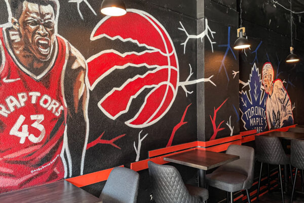 Interior image of seating in the North Fork on King St. East